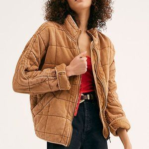 Free People Dolman Quilted Knit Jacket Myrrh Small